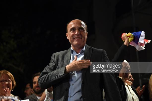 The presidential candidate for Uruguay's leftist governing coalition Frente Amplio Daniel Martinez addresses supporters following first results in...