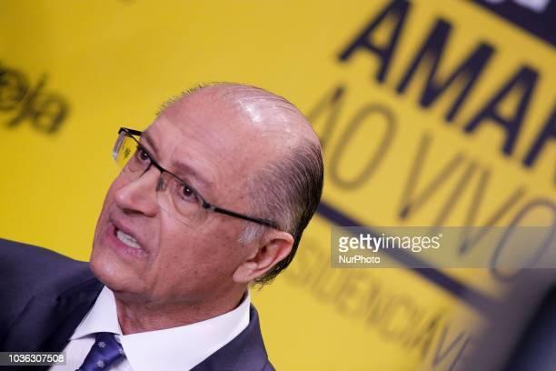 The presidential candidate Geraldo Alckmin interviewed at the Amarelas ao Vivo event Veja Magazine at Teatro Santander in São Paulo on September 19...