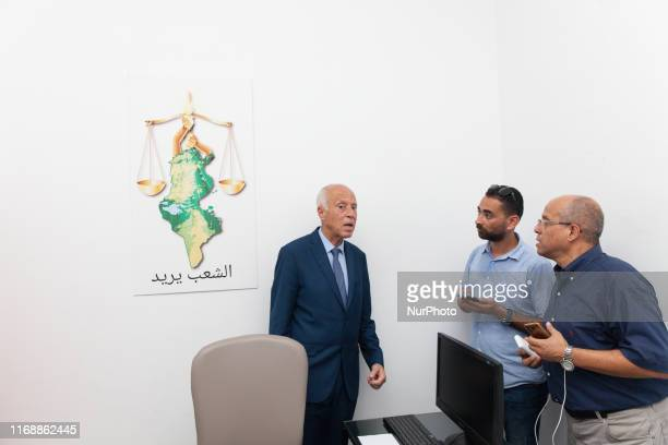 The presidential candidate Kais Saied, ranked first in the official results of the first round of Tunisias presidential elections with 15,58 %, talks...