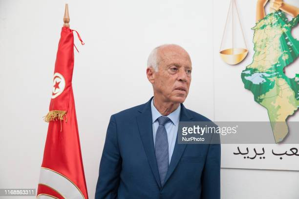 The presidential candidate Kais Saied, ranked first in the official results of the first round of Tunisias presidential elections with 15,58 %, seen...