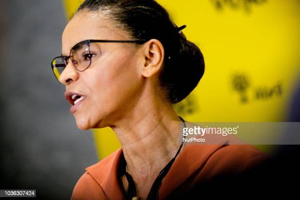 The presidential candidate Marina Silva interviewed at the Amarelas ao Vivo event Veja Magazine at Teatro Santander in São Paulo on September 19 2018