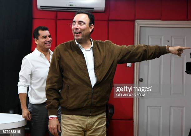 The presidential candidate of the opposition Liberal Party Luis Zelaya gets ready to take part in a radio program in Tegucigalpa on November 23 ahead...