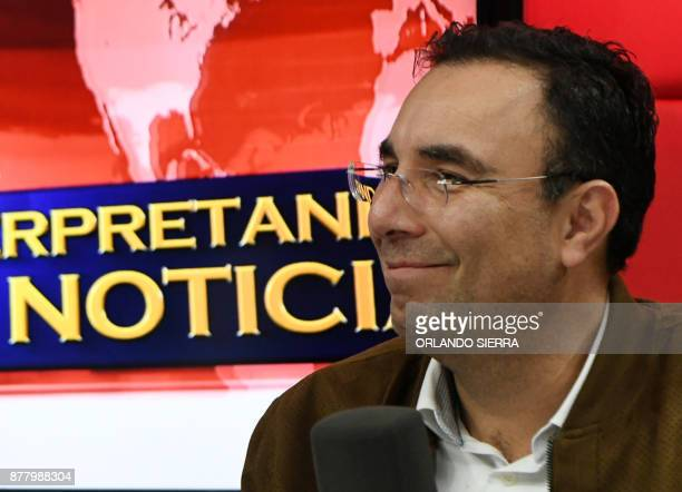 The presidential candidate of the opposition Liberal Party Luis Zelaya takes part in a radio program in Tegucigalpa on November 23 ahead of the...