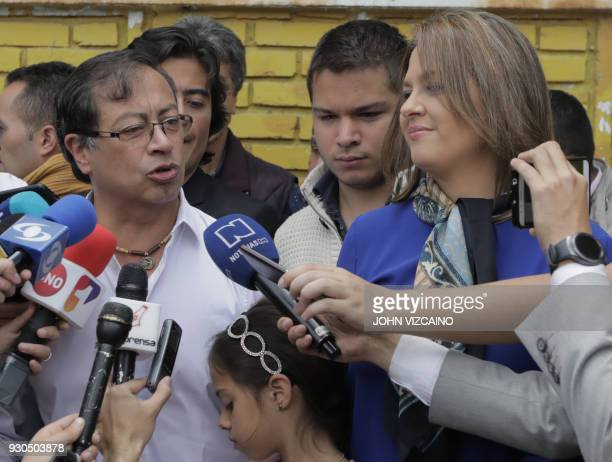 The presidential candidate of the Social Inclusion for Peace Gustavo Petro who is seeking to become the first leftwing president in Colombia's...