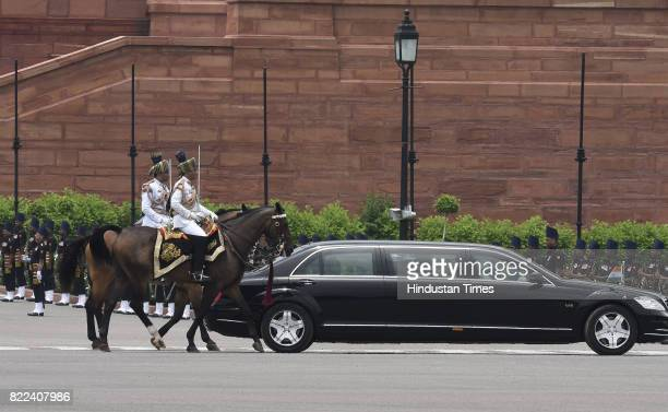 The Presidential cavalcade heading towards Parliament for the swearingin ceremony of Ram Nath Kovind on July 25 2017 in New Delhi India Ram Nath...