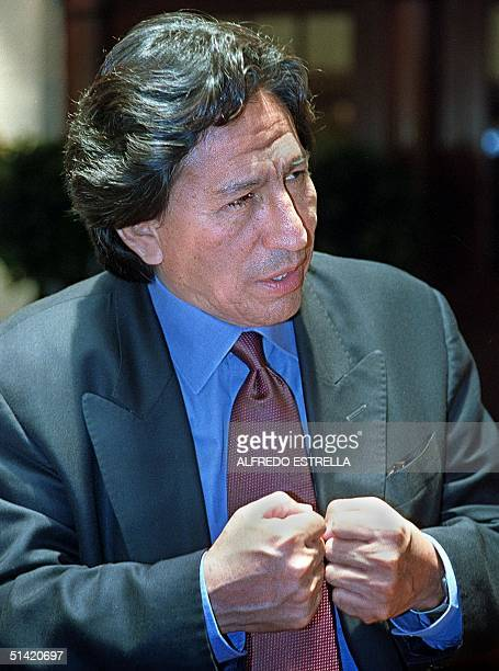 The presidential excandidate Alejandro Toledo opponent of Fujimori in the last selections of Peru speaks during the press conference in the lobby of...