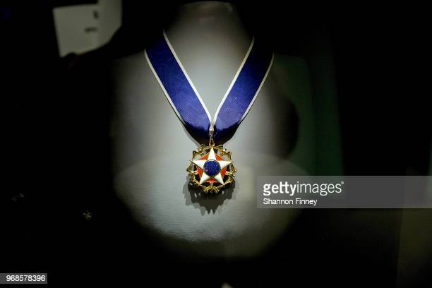 The Presidential Medal of Freedom awarded to Oprah Winfrey in 2013 by President Barack Obama on display as part of the exhibition Watching Oprah The...