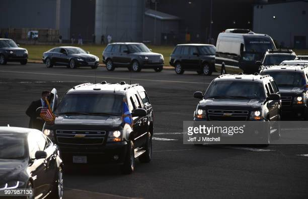 The presidential motorcade awaits the arrival of The President of the United States Donald Trump and First Lady Melania Trump at Glasgow Prestwick...