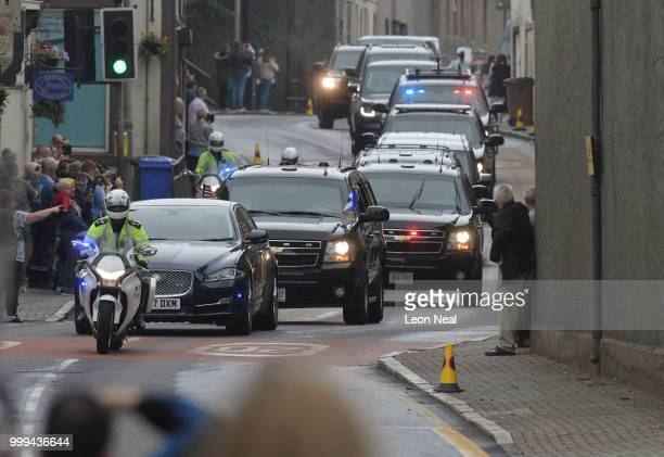 The presidential motorcade carrying US President Donald Trump and First Lady Melania Trump passes through the burgh of Maybole enroute to Glasgow...