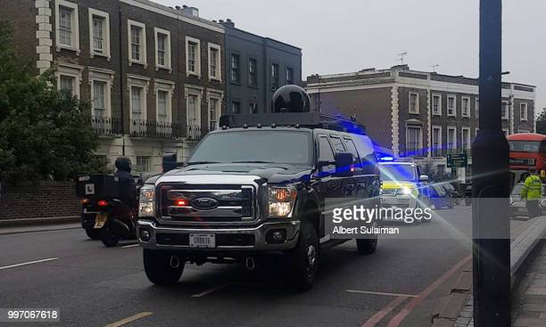 The presidential motorcade passes through Camden Town ahead of today's visit by the President of the United States, Donald Trump on July 12, 2018 in...