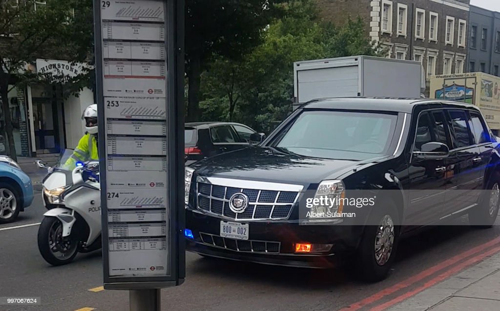 The presidential motorcade passes through Camden Town ahead of today's visit by the President of the United States, Donald Trump on July 12, 2018 in London, England.