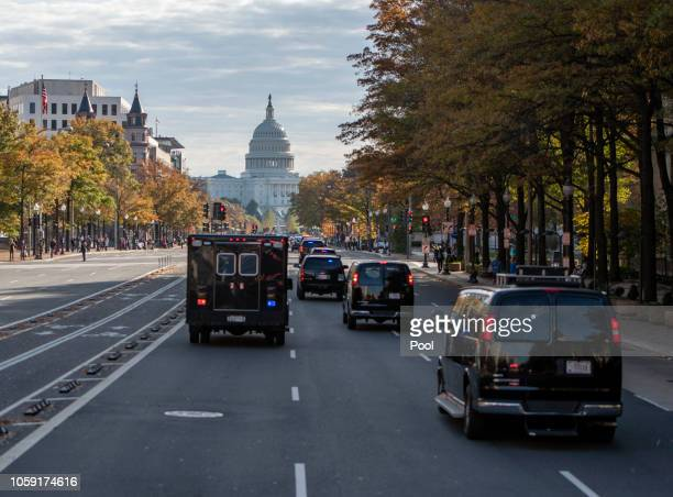The presidential motorcade with United States President Donald J. Trump and First lady Melania Trump aboard, makes its way up Pennsylvania Avenue to...