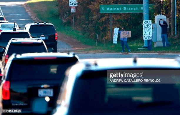 The presidential motorcade, with US President Donald Trump, travels through Reston, Virginia, after President Trump played golf at his International...