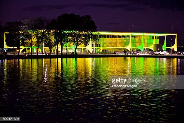 The Presidential Palace in colors of Brazil in the World Cup FIFA 2014.