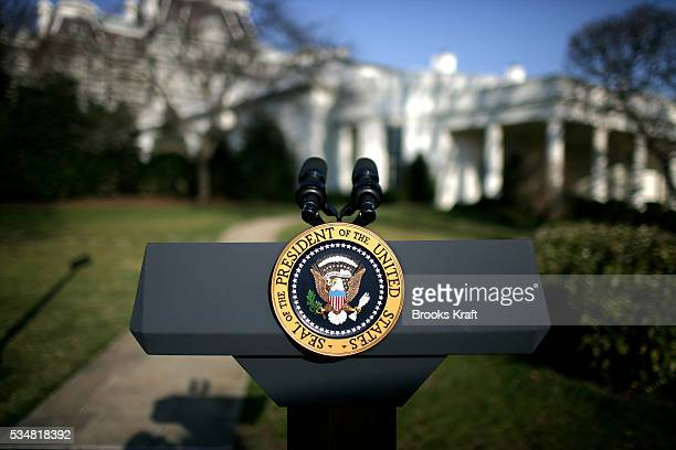 The Presidential podium and seal on the South Lawn of the White House in Washington DC