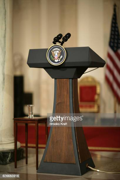 The presidential podium in the Cross Hall at the White House in Washington