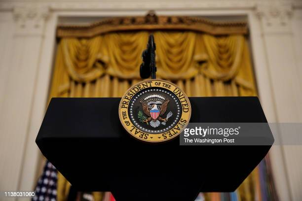 The Presidential podium is seen prior President Donald Trump speaking during the Wounded WarriorProject Soldier Rideevent in the East Room of the...