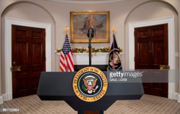 The Presidential podium prior to US President Donald Trump holding a signing ceremony for HR 2810 National Defense Authorization Act for Fiscal Year...