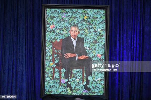 The presidential portrait of former President Barack Obama is unveiled at the Smithsonian National Portrait Gallery on Monday February 12 2018 in...