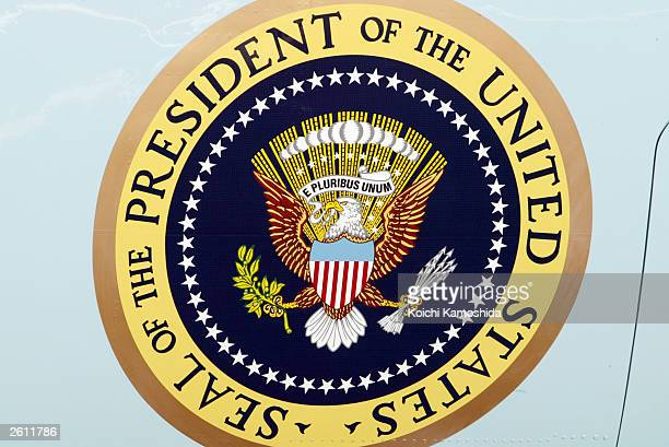 The Presidential seal is seen on Air Force One October 18 2003 at Tokyo International Airport in Tokyo Japan