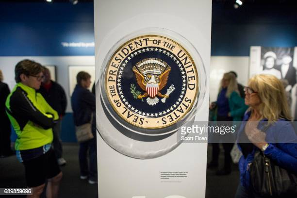 The Presidential Seal used by President John F Kennedy at press conferences on display at the JFK 100 Milestones Mementos Exhibit at the John F...