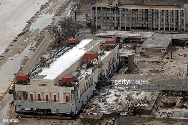 The Presidents Casino barge which used to be situated in the water across US Highway 90 now sits atop a Holiday Inn pushed ashore by Hurricane...