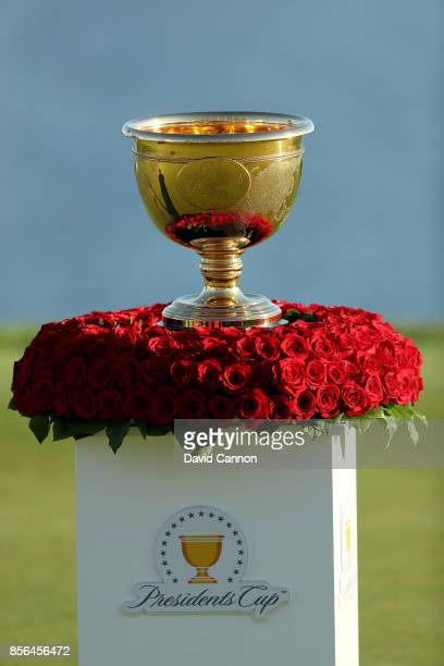 The Presidents Cup on display during the final day singles matches matches in the 2017 Presidents Cup at the Liberty National Golf Club on October 1...