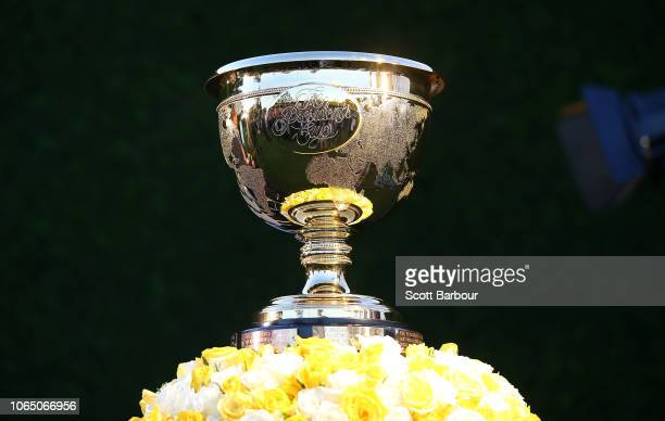 The Presidents Cup sits on display at the Presidents Cup International Team Reception after day four of the 2018 World Cup of Golf at Royal Melbourne...
