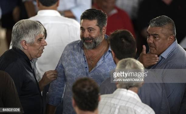 The presidents of Argentinian football teams Independiente Boca Juniors and Barracas Central respectively Hugo Moyano Daniel Angelici and Claudio...