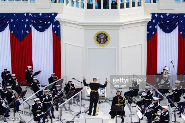 """The President's Own"""" United States Marine Band performs for the inauguration of U.S. President-elect Joe Biden on the West Front of the U.S. Capitol..."""