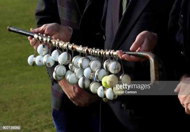 The President's Putter trophy that has been played for since 1920 is held by the finalists before the final of the 2017 President's Putter at Rye...