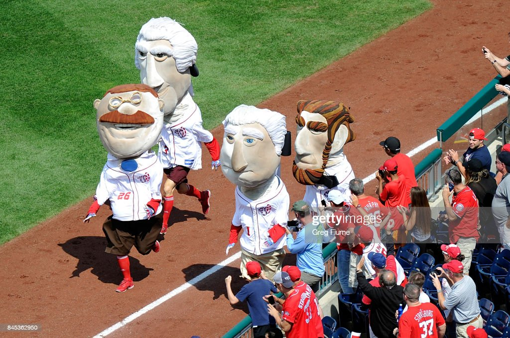 The presidents race during the game between the Washington Nationals and the Philadelphia Phillies at Nationals Park on September 10, 2017 in Washington, DC.