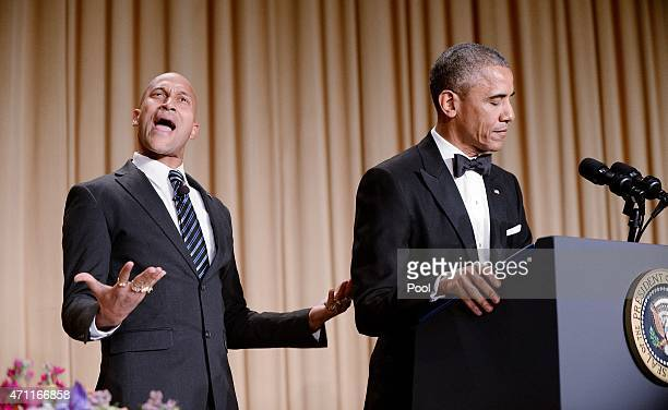 The presidents translator Luther as portrayed by comedian KeeganMichael Key gestures as President Barack Obama speaks at the annual White House...