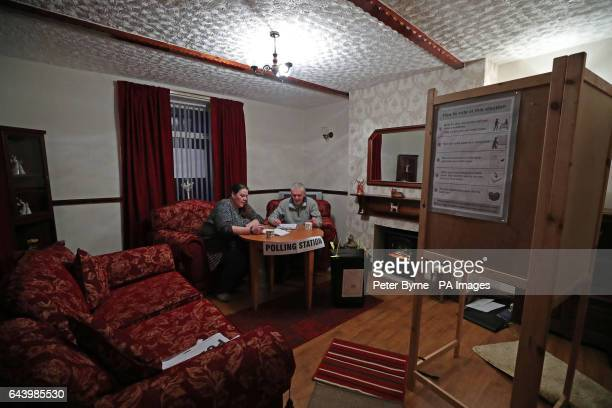 The presiding officer Eddie Garner and polling officer Elaine Wilkinson at a house which is being used as a polling station in Pica, Cumbria, as...