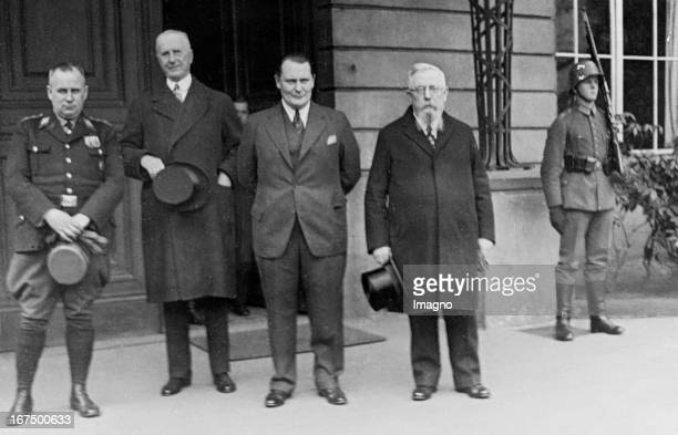 The Presidium of the new Reichstag in front of the Presidential Palace From left to right Ernst Zörner Walther Graef Hermann Goering and Thomas Esser...