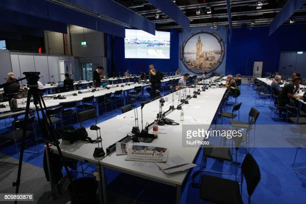 The press center at the Hamburg Messe und Congress center is seen ahead of the start of the G20 on 6 July 2017