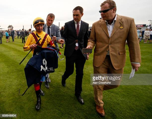 The press chat with Frankie Dettori after finishing second on Lady Aurelia at York racecourse on August 25 2017 in York England