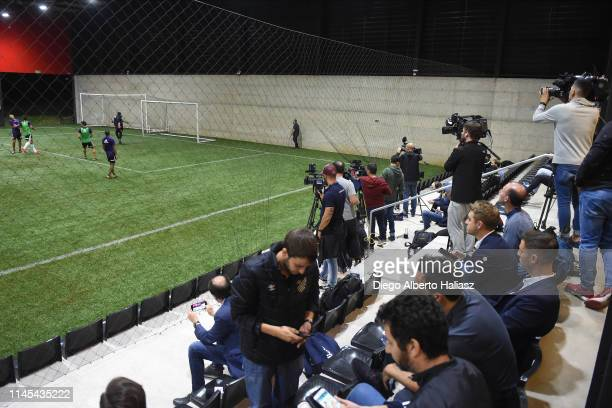 The press during a training session at CAT Alfredo Gottardi on May 21 2019 in Curitiba Brazil River Plate will face Atletico Paranaense as part of...
