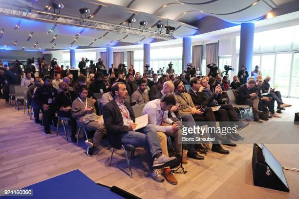 The press listen to Laureus Academy Member Raul Hidetoshi Nakata and Laureus Academy Member Cafu prior to the 2018 Laureus World Sports Awards at Le...