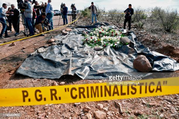 The press surrounds the site where nine Mormon women and children were murdered past November in an ambush, in Galeana, Chihuahua state, Mexico, on...