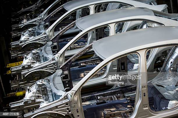 The pressed steel shells of Skoda automobiles sit in storage before assembly at Volkswagen AG's Skoda Auto AS manufacturing plant in Mlada Boleslav,...
