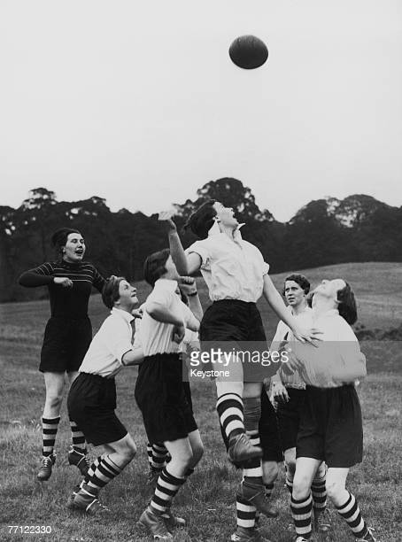 The Preston Ladies Football Club in action in Bedford, whilst training for their continental tour, 27th May 1939.
