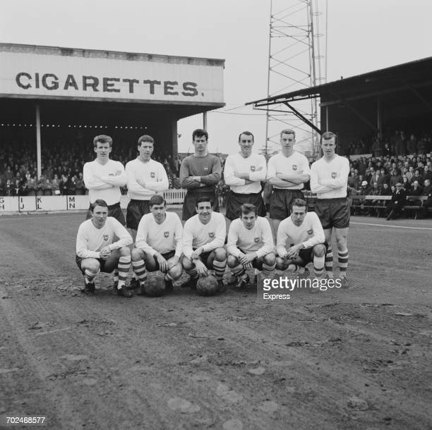 The Preston North End team 23rd February 1964From left to right George Ross John Donnelly Alan Kelly Ian Davidson Tony Singleton Nobby Lawton David...