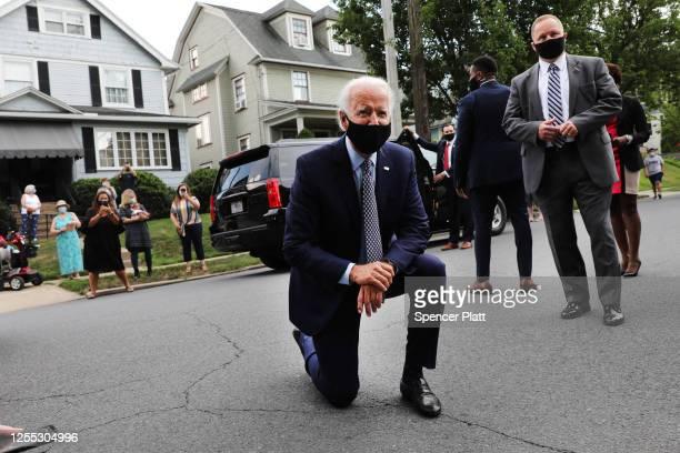 The presumptive Democratic presidential nominee Joe Biden stops in front of his childhood home on July 09, 2020 in Scranton, Pennsylvania. The former...