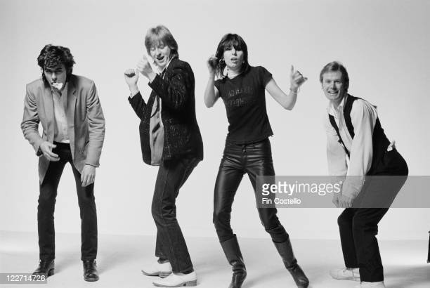 The Pretenders bassist Pete Farndon guitarist James HoneymanScott singer and guitarist Chrissie Hynde and drummer Martin Chambers British rock band...