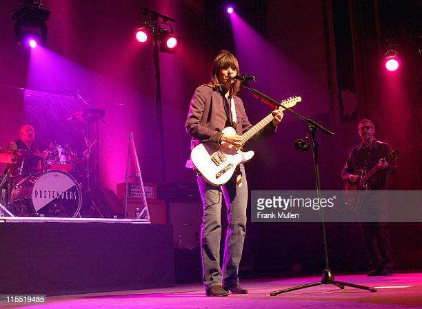 The Pretenders perform at the Tabernacle in Atlanta Jan 27 2003 LR Andy Hobson Martin Chambers Chrissie Hynde Adam Seymour