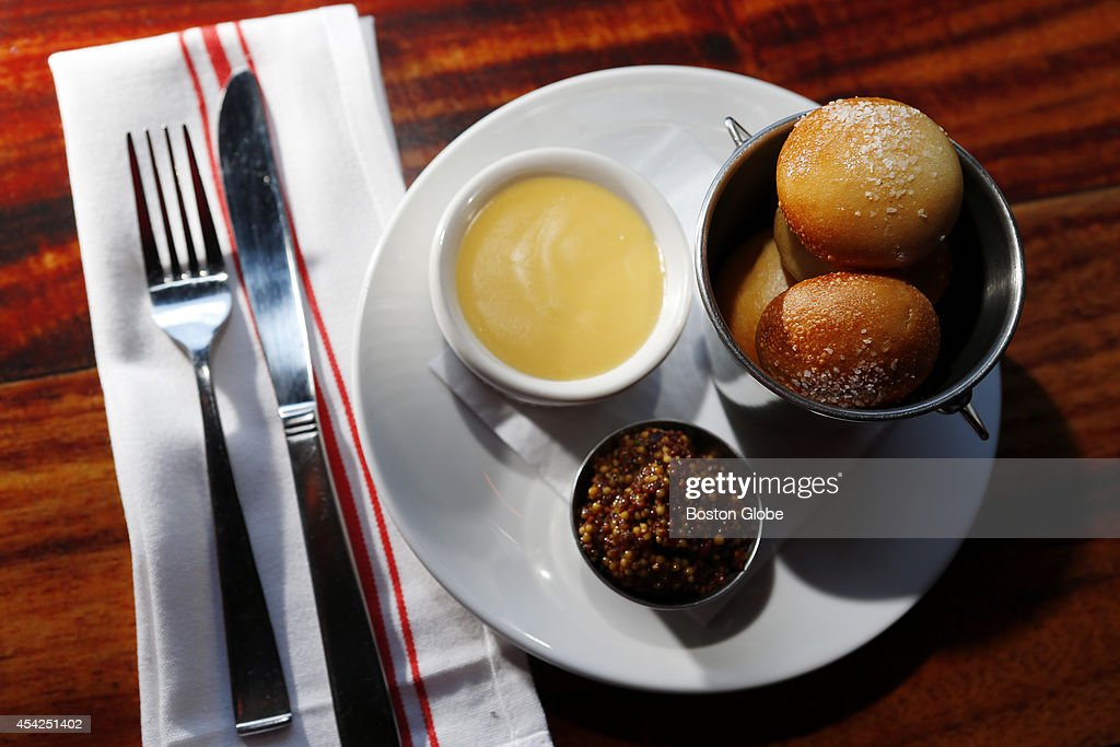 The pretzel rolls with cheese sauce are seen at Lulu's in the Boston neighborhood of Allston on August 22, 2014.