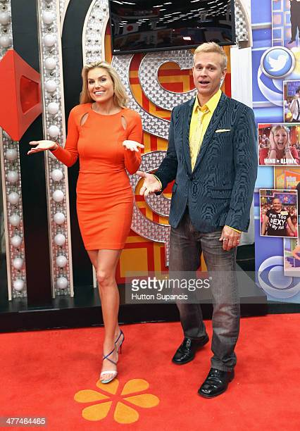 The Price is Right model Rachel Reynolds and host George Gray during the The Price is Right popup at 2014 SXSW Music Film Interactive Festival on...