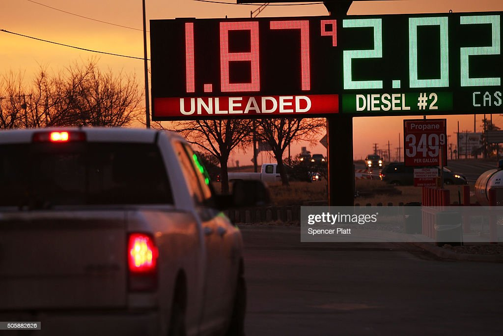 The price of gas is advertised at a fuel station in the Permian Basin oil field on January 20, 2016 in the oil town of Andrews, Texas. Despite recent drops in the price of oil, many residents of Andrews, and similar towns across the Permian, are trying to take the long view and stay optimistic. The Dow Jones industrial average plunged 540 points on Wednesday after crude oil plummeted another 7% and crashed below $27 a barrel.