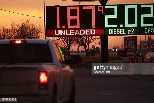 The price of gas is advertised at a fuel station in the Permian Basin oil field on January 20 2016 in the oil town of Andrews Texas Despite recent...